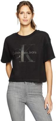 Calvin Klein Jeans Women's Short Sleeve Reverse Fleece Monogram Logo Sweatshirt