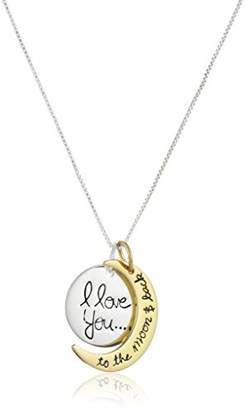 "Rosegold Two Tone Sterling Silver and Yellow Gold Flashed""I Love You To The Moon and Back"" Pendant Necklace"