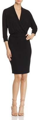 Three Dots Faux-Wrap Sweater Dress