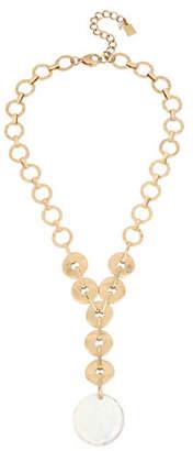 Robert Lee Morris SOHO Moonrise Mother-Of-Pearl Crystal Disc Necklace