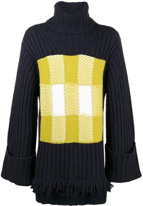 J.W.Anderson turtle neck check panel ribbed jumper
