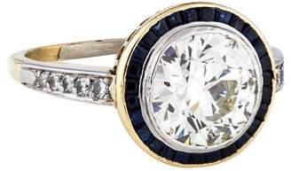 2.69ct Diamond & Sapphire Halo Engagement Ring