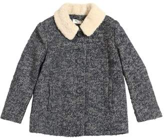 Nice Things Woven Wool Coat W/ Faux Shearling Collar