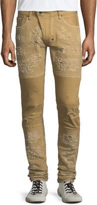 PRPS Windsor Distressed Skinny Moto Jeans, Khaki