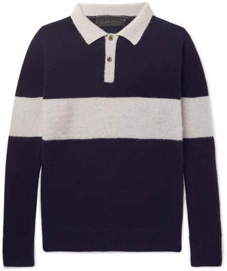 The Elder Statesman Striped Knitted Cashmere Polo Shirt