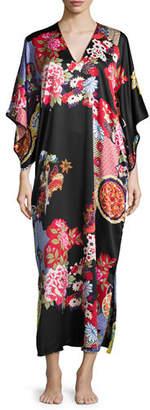 Natori Mikado Floral-Print Lounge Caftan, Plus Size