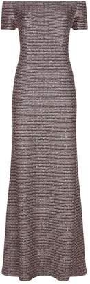 St. John Off Shoulder Sequin Knit Gown