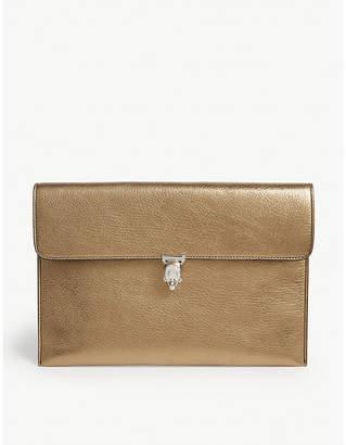 Alexander McQueen Leather metallic clutch