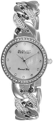 August Steiner Women's AS8190SS Crystal Accented Quartz Watch with White Mother of Pearl Dial and Bracelet