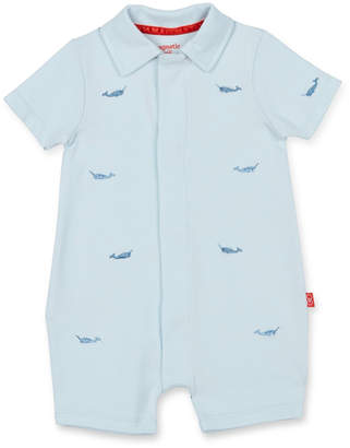 Magnetic Me Blue Narwhal Polo Romper