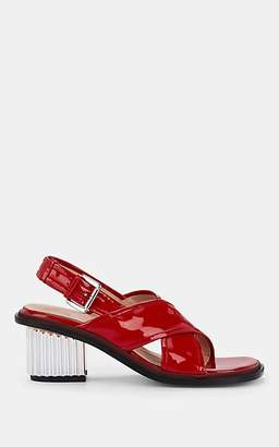 PLAN C Women's Patent Leather Crisscross-Strap Slingback Sandals - Red