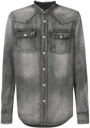 Balmain mandarin collar denim shirt