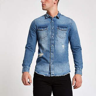 River Island Only and Sons blue ripped denim shirt