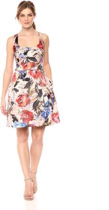 Nicole Miller Women's Printed fit and Flare Cocktail Dress
