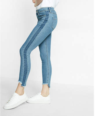 Express mid rise side stripe raw hem stretch ankle jean leggings