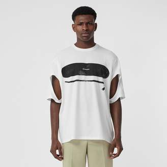 Burberry Cut-out Detail Logo Print Cotton Oversized T-shirt