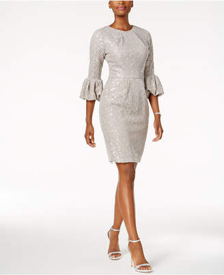 Betsy & Adam Sequined Lace Bell-Sleeve Dress $219 thestylecure.com