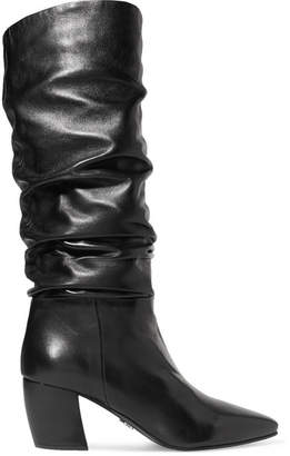 Prada Leather Knee Boots - Black