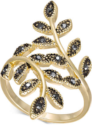 INC International Concepts I.N.C. Gold-Tone Hematite Crystal Leaf Wrap Ring, Created for Macy's