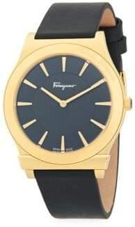 Salvatore Ferragamo Logo Stainless Steel & Leather-Strap Watch