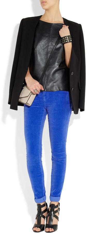 Current/Elliott The Skinny velvet low-rise jeans