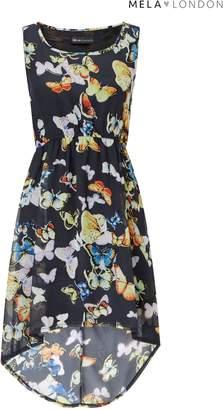 Next Womens Mela London Butterfly Print High Low Skater Dress
