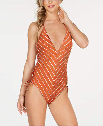 0c141857d6 Bar III Dotted Stripe Plunging One-Piece Swimsuit, Created for Macy's