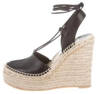Saint Laurent Leather Platform Espadrille Wedges
