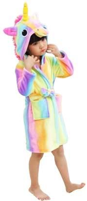 anima WDA Kid Unicorn Cotume Animal Pajama Bathrobe Fleece Robe for Children (Pink dinoaur,)