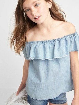 Ruffle off-shoulder chambray top $26.95 thestylecure.com