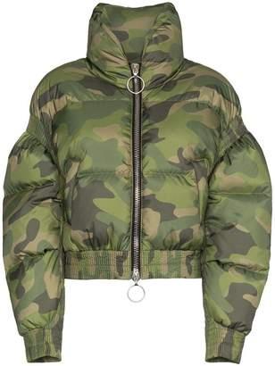 Ienki Ienki Poodle camo print cropped puffer jacket