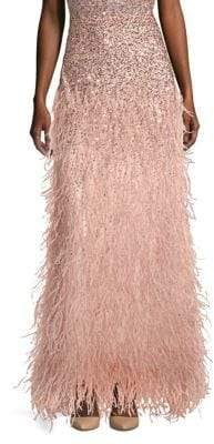 Alice + Olivia Women's Ashton Sequin& Feather Maxi Skirt - Rose Gold - Size 6
