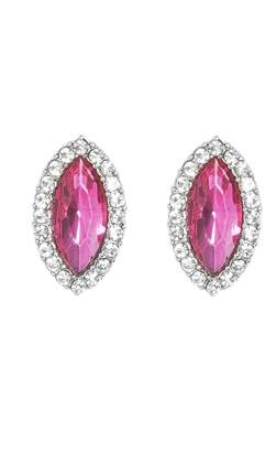 Quiz Pink Jewel Oval Earrings