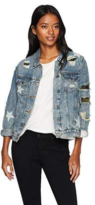 Miss Me Women's Distressed Denim Jacket with Camo and Star Detailing