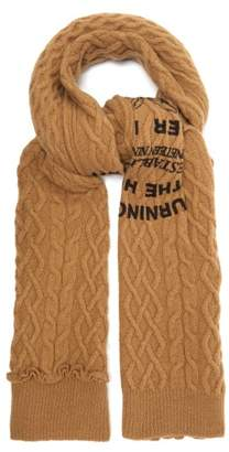 Raf Simons Asymmetric Text Print Cable Knit Wool Scarf - Mens - Camel