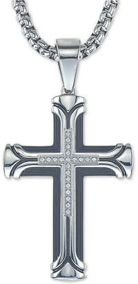 "Esquire Men's Jewelry Diamond Cross 22"" Pendant Necklace (1/10 ct. t.w.) in Ion-Plated Stainless Steel"