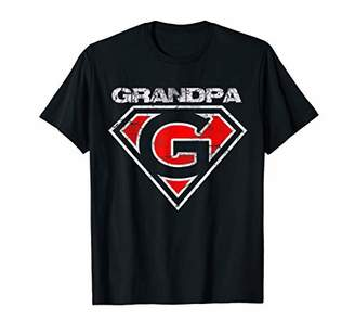 Mens Grandpa Super Hero Best Father Day Gift Tee For Grandfather