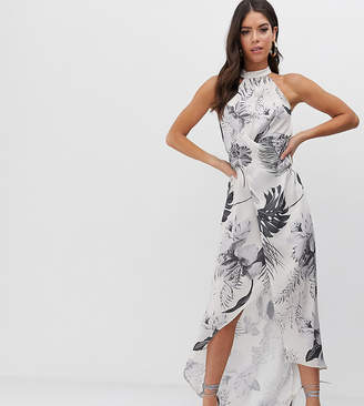 Asos Design DESIGN Tall high neck satin twill maxi dress in tonal palm print