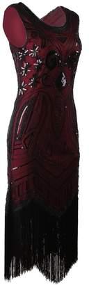 Vijiv Long Prom 1920's Vintage Gatsby Bead Sequin Art Nouveau Deco Flapper Dress