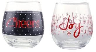Kovot 2 Piece Holiday Cheers and Joy 16 oz. Wine Glass Set