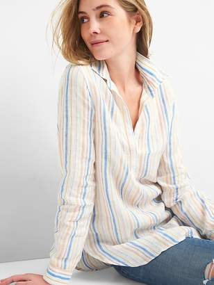 Gap Boyfriend Popover Tunic Shirt in Linen
