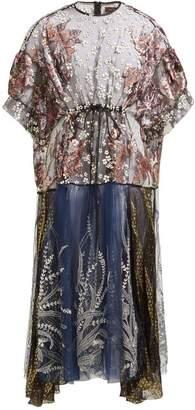 Biyan Aradela Velvet Fil Coupe Embroidered Dress - Womens - Navy Multi