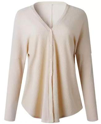 Goodnight Macaroon 'Sophia' Ribbed Button Down Thermal Sweater (3 Colors)