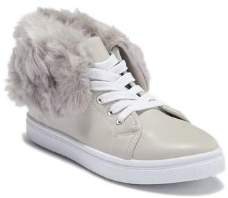 OLIVIA MILLER Fold-Up Faux Fur High-Top Sneaker (Little Kid & Big Kid)