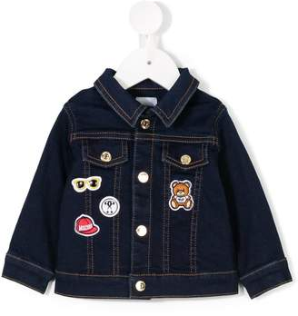Moschino Kids badge detail denim jacket