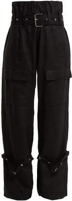 Marques Almeida MARQUES'ALMEIDA Belted linen cargo trousers