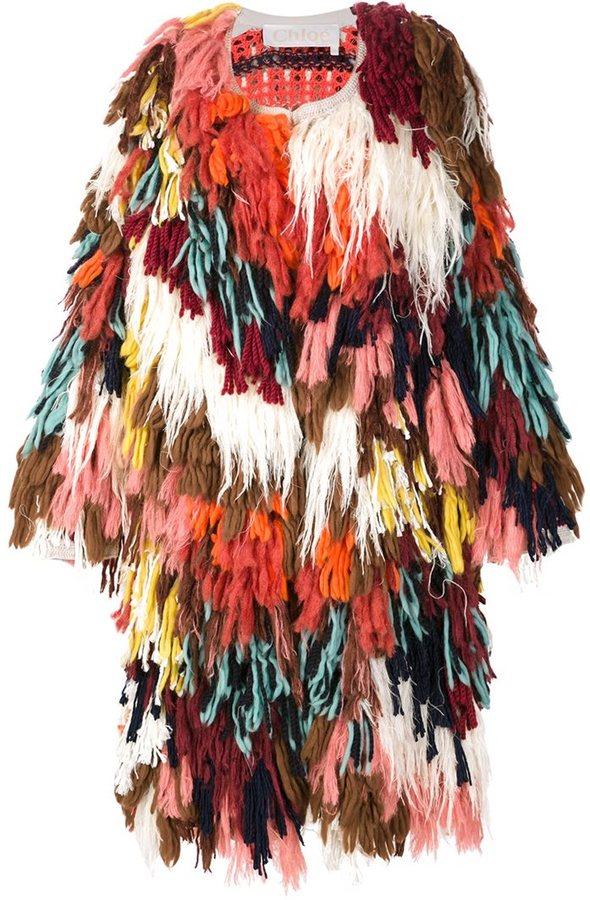 Chloé Chloé shaggy knit coat
