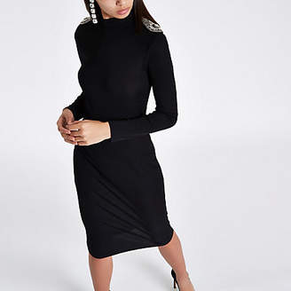 River Island Black rhinestone shoulder bodycon midi dress