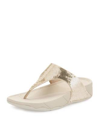 Fitflop Electra Classic Sequined Thong Sandal, Pale Gold $65 thestylecure.com