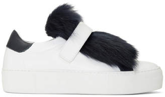 Moncler White Fur Victoire Slip-On Sneakers